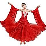 ZZX Professionelle Nationalen Standard Tanz Strass Show Kleid,Gesellschaftstanzwalzer Tanzendes Outfit,Toller Swing Kleid (Color : Red, Size : XXL)