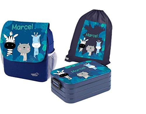 Mijn Zwergenland set 4 kleuterschoolrugzak met broodtrommel Maxi en gymtas katoen Happy Knirps Next Print met naam blauw, Zebra Giraf (blauw) - ZL-S4NP-BLAU-PARENT