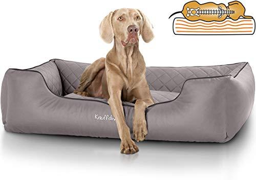 Knuffelwuff orthopädisches Hundebett XXL Madison aus Kunstleder Hundekorb Hundesofa Hundekissen Hundekörbchen waschbar Grau 120 x 85cm grosse Hunde