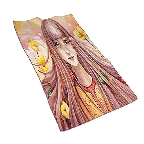AOOEDM Toallas de mano, pintura de cara para niña, pelo largo, flores y peces, impresión de patrón suave, muy absorbente, toalla de baño para baño, hotel, gimnasio y spa, 27.5 x 15.5 pulgadas