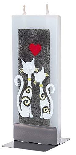 flatyz Flachkerze, Kerze mit 2 Dochten und Halterung, Motiv 2 Katzen mit Herz
