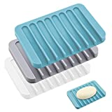 CNXUS 3PCS Jabonera, Jaboneras de Silicona, Bandeja de jabón para Ducha baño Fregadero para jabón, esponjas y más, Jabonera en Cascada para Ducha, baño, Cocina