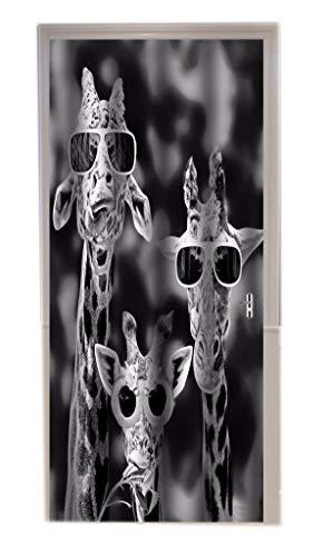A.Monamour Monochrome Schwarz-Weiß-Bild Bild Drucken Coole Giraffen Mit Brille Lustige Animal-Print Vinyl Zimmer Tür Aufkleber Tapete Wandbilder Tür Aufkleber Poster