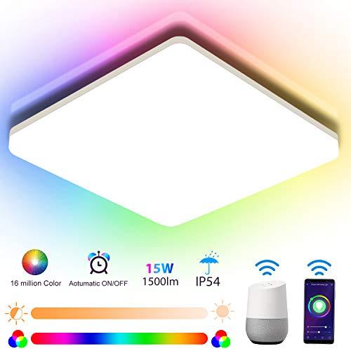 Oeegoo RGB LED Deckenleuchte dimmbar 15W, Stimme oder APP Steuerung Wifi deckenlampe dimmbar farbwechsel, IP54 Leuchte Kinderzimmer mit Speicherfunktion und Intelligentem Wecker 22 * 22 * 4.8