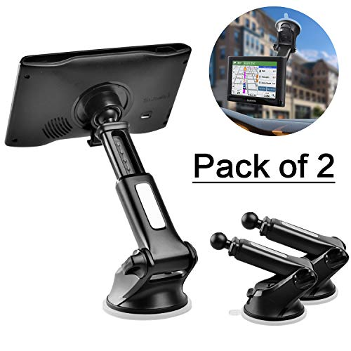 GPS Suction Cup Mount for Garmin [Quick Telescopic Extension Arm] (Set of 2), 1Zero GPS Dashboard Mount Dash Windshield Window Car Holder for Garmin Nuvi RV Dezl Drive Drivesmart Driveassist and More
