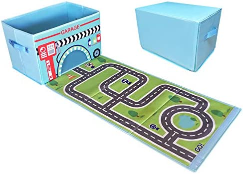 EMBRACE PLAY Toy Storage Box with car Rug Play mat Toy Box for Boys and Girls 2 in 1 Collapsible product image
