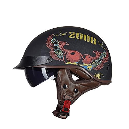 Cascos Half Helmet Onesenate casco medio casco casco de motocicleta hombres y mujeres universal adulto casco punto certificado interno visualización espejo de crucero de largo deslizamiento deslizamie
