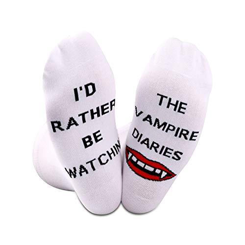 Vampire Diaries inspiriertes Geschenk Neuheit TV-Show-Socken I'd Rather Be Watching The Vampire Diaries Gr. M, Vampire Diaries White EU