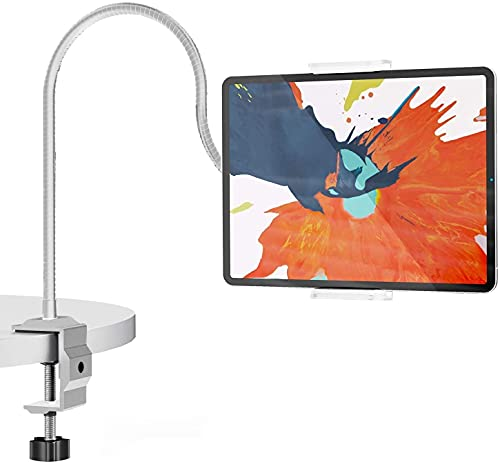 NessKa Soporte de mesa para tablet 360°, 2 en 1, soporte para cama, teléfono móvil, cuello de cisne, ajustable, adecuado para iPhone iPad 10,2 10,9 Air Pro Galaxy Tab A7 S6 Huawei | Plata/Blanco