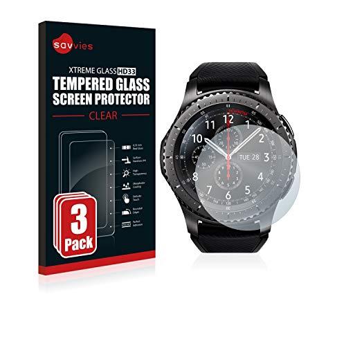 savvies Pellicola Vetro Temperato Compatibile con Samsung Gear S3 Frontier / S3 Classic (3 Pezzi) Protezione Protettivo Schermo Glass Durezza 9H