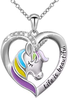 Unicorn Necklace Pendant Rainbow Heart Shape for Girls Woman