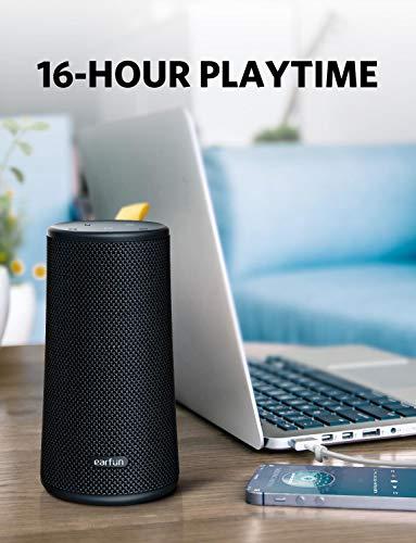 EarFun UBOOM - Altavoz Bluetooth (24 W, 360°, conexión inalámbrica, protección IPX7, USB-C, para interiores y exteriores, altavoz inalámbrico con micrófono