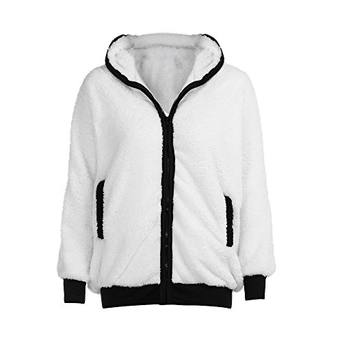 HFStorry Lovely Ladies Autumn and Winter Warm Plush Hooded Loose Panda Sweater Jacket White