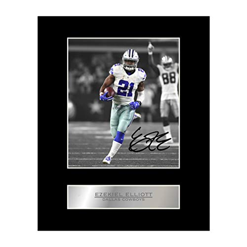 iconic pics Ezekiel Elliott Signed Mounted Photo Display Dallas Cowboys #01 NFL Autographed Gift Picture Print