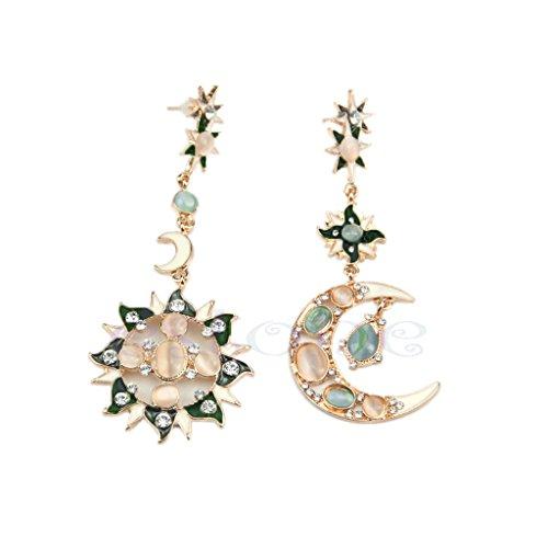 VIccoo Pendiente de Dama, Moda Exquisita Estrella Sol Luna Diamantes de imitación Cristal Pendientes Colgantes Bonitos