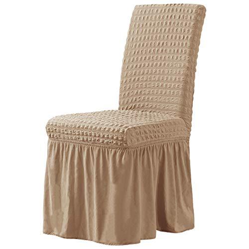 CHUN YI Stuhlhussen Stretch Stuhlbezug mit Rock 2er Set, Universal Waschbar Möbelschutz für Kinder Haustiere Hauszeremonie Bankett Hochzeitsfeier (2 Stück, Saathafer)