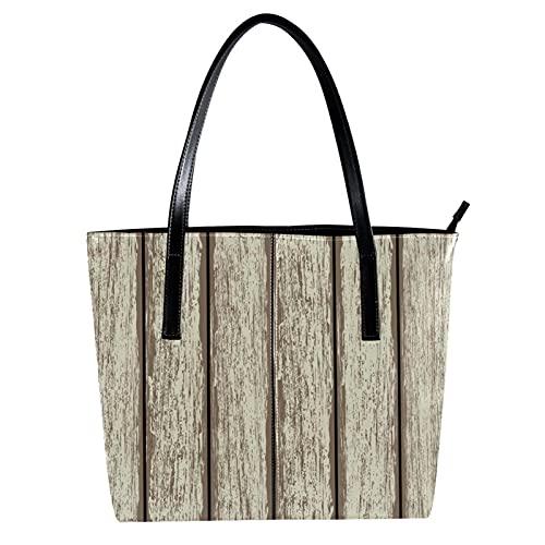 LORVIES Altes Zaun Holz Umhängetasche PU Leder Handtaschen Damen