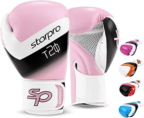 Starpro Kinder T20 Boxhandschuhe   PU Leder   Blau Pink und Weiß   Für Jugendtraining und Sparring im Boxen Kickboxen Fitness und Boxen   Kinder 4oz 6oz (Rosa/Weiß, 4oz)