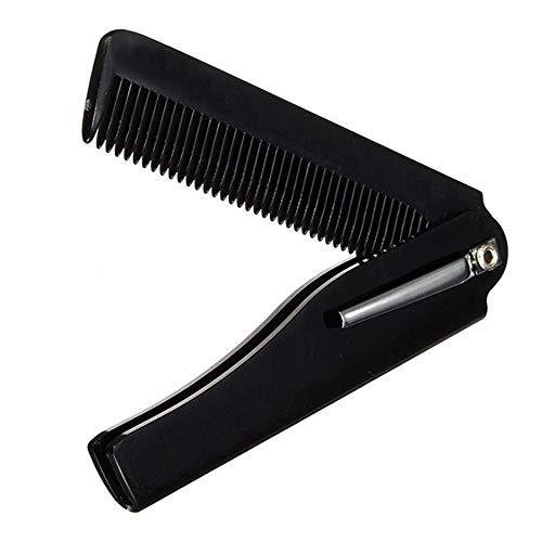 N/A TIANTIANZX Peigne à barbe, fait à la main, pliable de poche à clip, peigne à barbe, portable Noir (10 pièces)