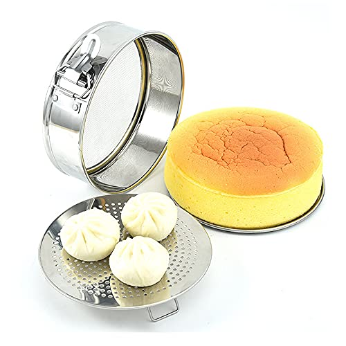 Falytemow 3 in 1 Stainless Steel Springform Pan Flour Sifter and Steamer Rack Baking Set Leakproof Round Cheesecake Pan with Removable Bottom Dishwasher Safe