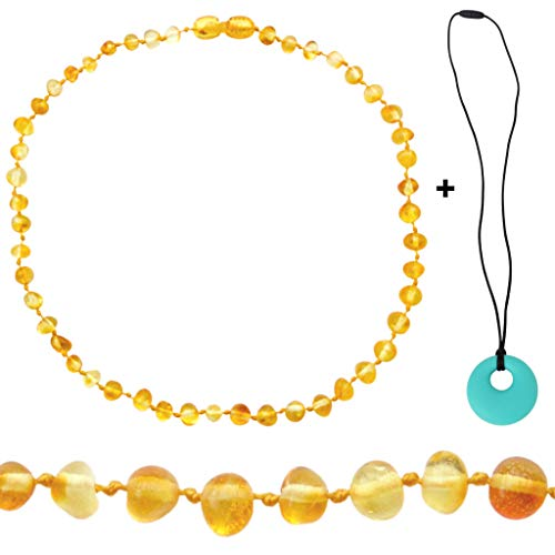 Mama's Natural Remedies Amber Necklace - Authentic Baltic Amber Necklace for Boy or Girl (Unisex) - Polished Honey - Pop Clasp - Turquoise Silicone Necklace for Mom - Gift Set