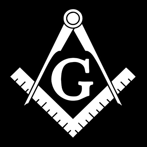 Basic Square & Compass Masonic Vinyl Decal - [White][6 Inch]