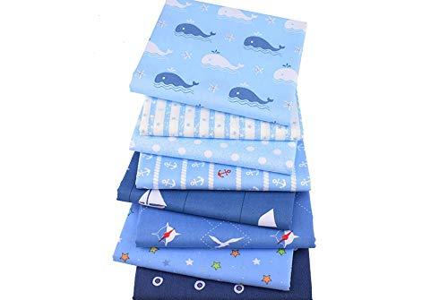 8 Telas marineras azules para cocinas, terrazas, jardines, caravanas, bañadores niños, vestiditos, cojines, colchas, toallas, manualidades de costura 40 x 50 cm de CHIPYHOME