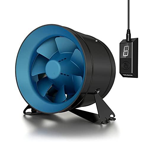 TerraBloom 10' Inline Duct Fan, Quiet Energy Saving EC Motor with 0-100% Adjustable Remote Speed Controller. 1065 CFM, 150W.