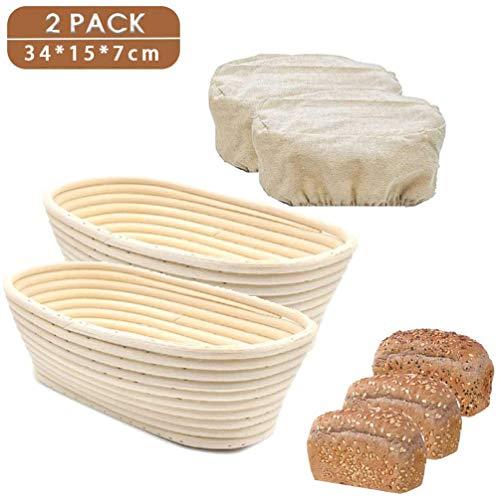 NN 2 Körbe Oval Von Rising, Rattan Korb mit Brot, Brotkorb für Tests in der natürlichen Rattan Körbe für Prüfungen,34 * 15 * 7cm