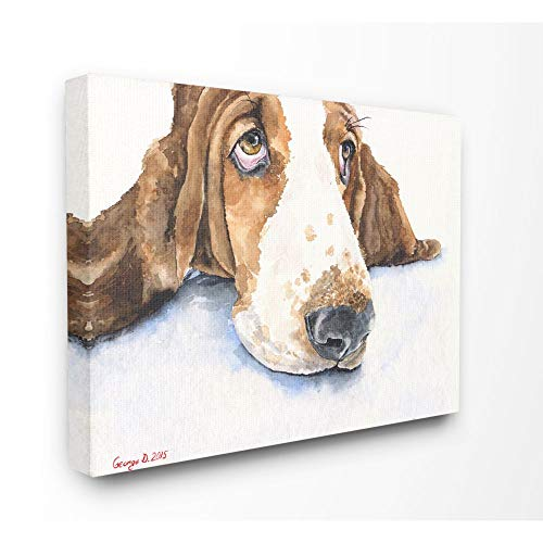 Stupell Industries Cute Dog Head Basset Hound Pet Animal Watercolor Painting Canvas Wall Art, 16 x 20, Multi-Color