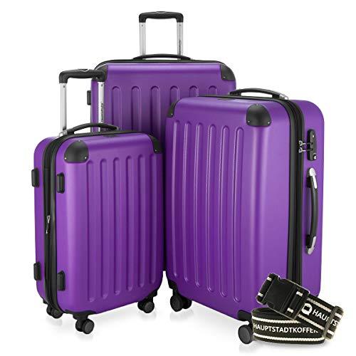 Capitale valigetta® rigida Spree 1203· Set · opaco · Lucchetto a combinazione numerica TSA · + bagagli tracolla (melanzana)
