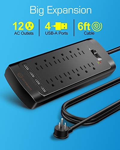 Surge Protector with USB (4360 Joules), Witeem 12 Outlets Power Strip and 4 USB Charging Ports (5V/3.4A), Flat Plug, 1875W/15A, 6 Feet Heavy Duty Extension Cord, ETL Listed, Black 4