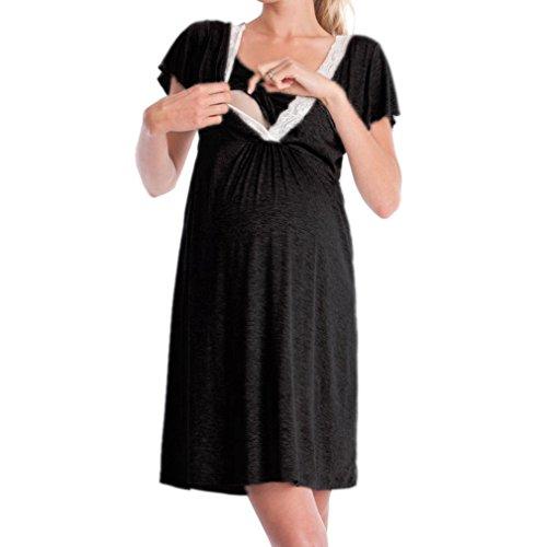 MEIHAOWEI Maternité Robe Nursery Nightdress pour l'allaitement Chemise de Nuit vêtements de Nuit Noir S