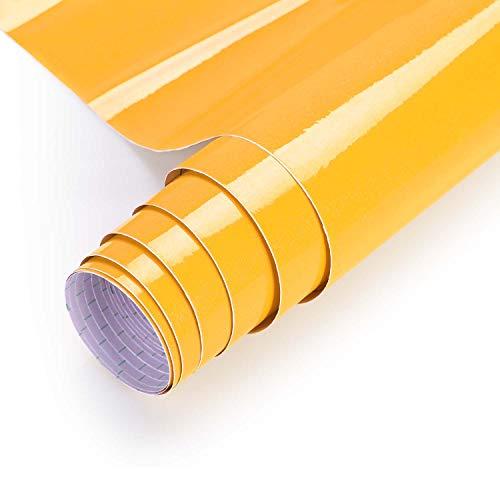 KINLO selbstklebende folie küche Gelb 80x500cm (4㎡) küche aus PVC klebefolie aufkleber küchenschränke Wasserfest Möbelfolie für schrank folie Küchenschrank küchenfolie Dekofolie MIT GLITZER