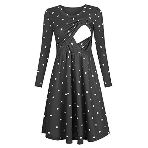 Allence Damen Stillnachthemd Umstandskleid Stillkleid Umstands-Nachthemd mit Stillfunktion