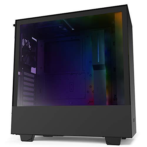 NZXT H510i - Kompaktes ATX-Mid-Tower-Gehäuse für Gaming-PCs - Front USB-C Port - Vertikale GPU Montage möglich - Tempered Glass-Seitenfenster - Für Wasserkühlung nutzbar - Schwarz