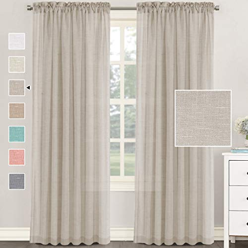 H.VERSAILTEX Natural Linen Blended Curtains 84 Inches Length 2 Panels Textured Woven Linen Sheer Curtain Drapes for Living Room/Bedroom Light Filtering Rod Pocket Casual Draperies - Linen