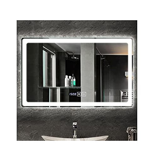 zyy 50x70cm rectángulo montado en la Pared de Maquillaje Espejo con antivaho Iluminado LED Espejo de baño con Control de sensores táctiles de luz Blanca