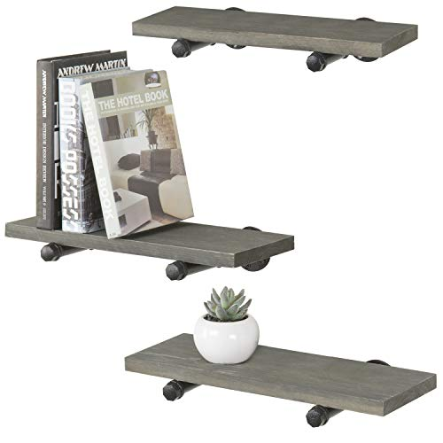 """Barnyard Designs Floating Wall Mount Shelf with Towel Bar - Rustic Vintage Industrial Metal and Wood Decorative Shelf and Towel Holder 23.5"""" x 9.5"""""""