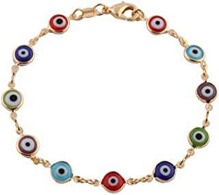 Gold Overlay with Colorful Mini Evil Eye Style 7.5 Inch Clasp Bracelet (T-42)