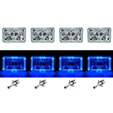 OCTANE LIGHTING 4X6' Blue Led Halo Angel Eye Halogen Headlights Headlamp Bulbs Crystal Clear Set