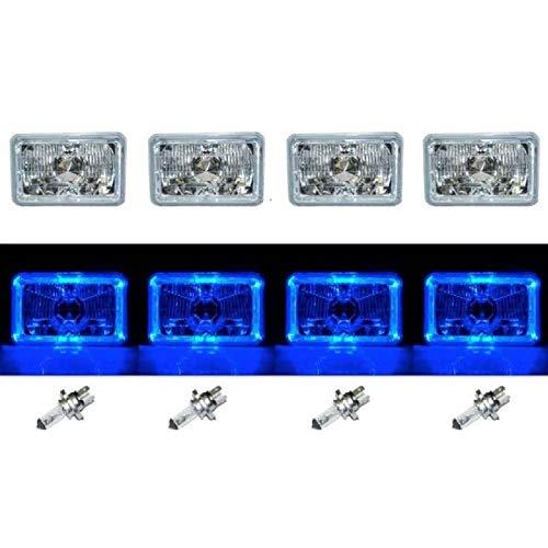 "OCTANE LIGHTING 4X6"" Blue Led Halo Angel Eye Halogen Headlights Headlamp Bulbs Crystal Clear Set"