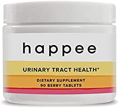 Happee Urinary Tract Health | Chewable Berry Flavored Pills | Doctor Formulated UTI Prevention Supplement for Women & Men | 500mg D-Mannose w/Antioxidants for Detox & Bladder Health | 45 Day Supply