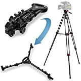 72' Professional Deluxe Heavy Duty Tripod and Folding Tripod Dolly with Rubber Wheels and Adjustable Leg Mounts for Canon Nikon Sony DSLR Cameras Camcorder