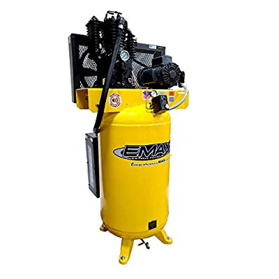 5 HP Quiet Air Compressor, 1PH, 2-Stage, 80-Gallon, Vertical, EMAX Yellow, Industrial Series, Model ES05V080I1 by EMAX Compressor from Emax Compressor