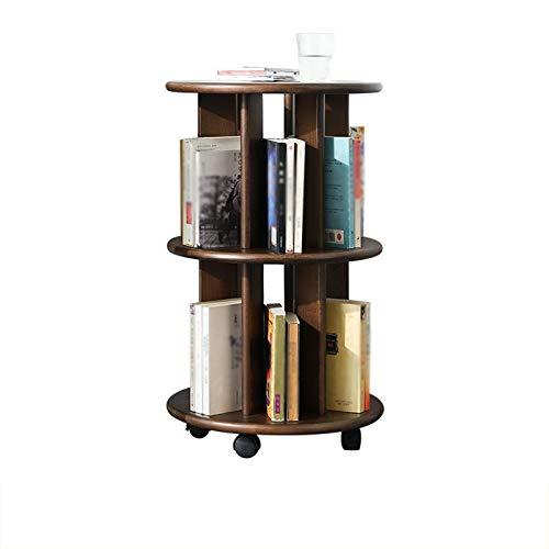 Librería Salon 360 ° Bookcase giratoria de 3 pisos Pulle de fondo de piso a techo Polea de fondo para moverse Libres Oficina Inicio Casa Multifuncional Soporte de almacenamiento Estantería Decorativa