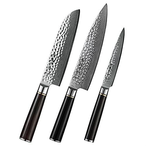 1-3pcs conjunto de cuchillos de cocina VG10 Acero Damasco de acero caja de regalo profesional Chef Utility Santoku Cuchillo Sharp cortador (Color : HZ Z 3PC)