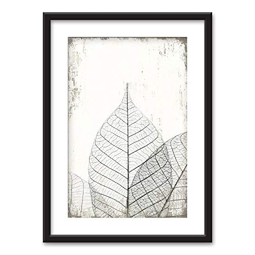wall26 - Framed Wall Art - Black White Leaf Vein Pattern Vintage Background - Black Picture Frames White Matting - 23x31 inches