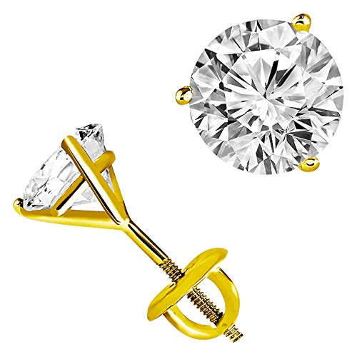 2ct Solitaire Diamond Stud Earrings 14ct Yellow Gold Screw Back (G Color VS1-VS2 Clarity) for Women
