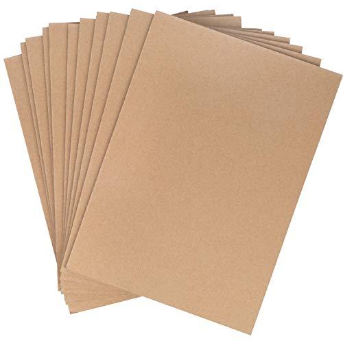 Hojas Carton Kraft (Pack de 25) - A4 Carton Peso Medio 3mm de Grosor Carton Marrón para para Manualidades y Arte Álbumes de Recortes, Respaldo para Blocs de Notas, Fotos, Impresiones y Bricolaje